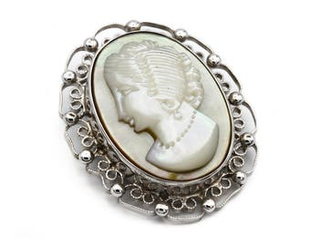 Cameo Brooch Pendant, Carved MOP Cameo, Antique 1940s Jewelry, 925 Sterling Silver, Scroll Filigree Pendant Brooch, Victorian Lady Cameo Pin