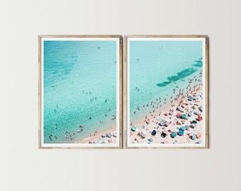 Beach Diptych Print - Digital Art, Beach Printable, Beach Wall Art, Photo Collage, Blue Decor, Beach Decor, Holiday Decor, Summer Print