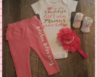 Infant, Baby Girl, Newborn, Onesie Set, Baby Shower, Coming Home Outfit, I'm My Daddy's Girl and My Mamas World