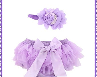 Lavender, Ruffled Bloomers, Baby Girl Bloomers with Matching Pearl Bow