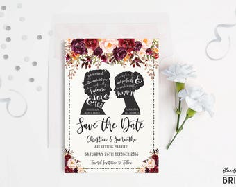 Rustic Save the Date Jane Austen Inspired Wedding Invitation Suite. Fall Autumn Watercolor Floral Invite. Mr and Mrs Pride & Prejudice. PP1