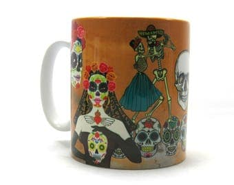Sugar Skull Bride, Coffee Mug, Day of the Dead Mug, Sugar Skull Gift.