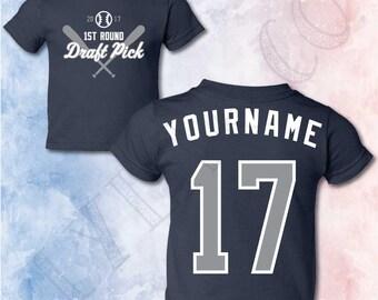 NY Yankees Toddler Baby Personalized Baseball Baby Shower NY Yankees Baby Shirt Baseball T-shirt Baseball Gender Reveal My 1st Baseball Game