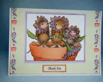 Plant Pot Mice Joanna Sheen design Thank You card