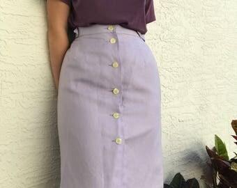 """Lilac Giorgio Sant' Angelo Linen Rayon Button Up Skirt / 10 / 30"""""""