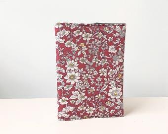 Burgundy passport holder, passport cover, fabric passport cover, floral passport holder