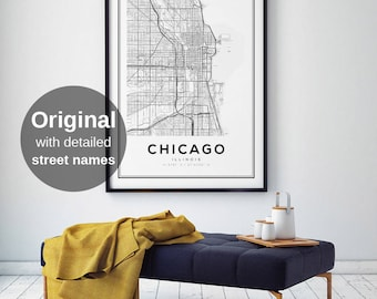 Chicago Map Etsy - Chicago illinois on us map
