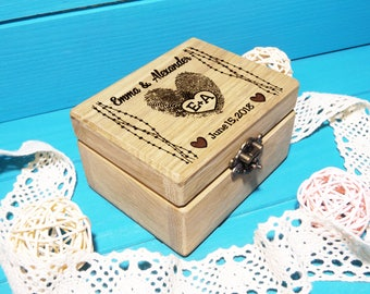 Ring Box-Wedding Ring Box-Personalized Ring Box-Rustic Ring Holder-Fingerprints Wedding Ring Box-Custom Ring Box-Heart Initials Ring Pillow