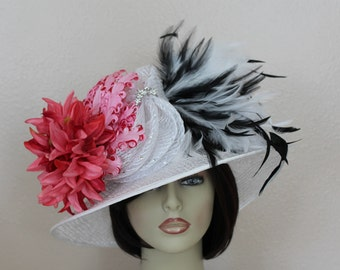 Kentucky Derby Hat, White Organza Hat, Pink Dahlia, Black and White Feathers