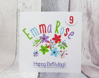 Personalised Floral birthday card, Flowers, name and age custom card, Handmade card with gems, Happy birthday card, Choose your colour