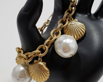 Fun & Playful Charm Bracelet with Faux Pearls and Seashells!