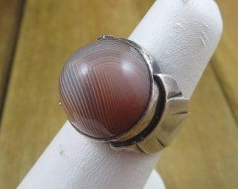 Vintage Sterling Silver Colored Agate Red Orange Brown Handmade Size 6 1/2 9.2 Grams
