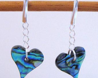 Paua Shell Heart Earrings - Sterling Silver Posts