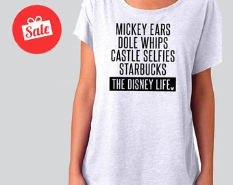 Mickey Ears Dole Whips Castle Selfies Starbucks Disney Life Slouchy Dolman Shirt. Off the Shoulder Disney Shirt. [E0109,E0146]
