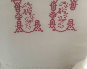 Antique French Linen Sheet with red LC Monogram// Linen Sheet with Hand Embroidered Monogram// Red Cross Stitch Monogram Sheet