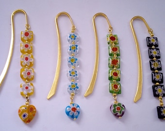handmade bookmark with pretty glass millefiori beads with gold tone bookmark with choice of colours and shapes