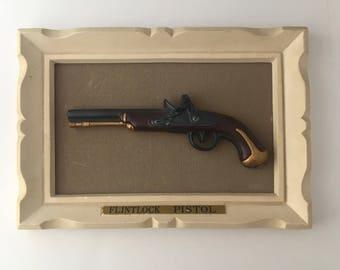 Vintage Gun Wall Art / Framed Tiny Gun Replica / Flintock Pistol Art / Framed Weapon Replica