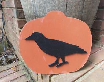 Primitive Crow on Pumpkin Wood Cutout