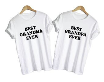 Best Grandma Best Grandpa -  shirts v-necks unisex womens family mom dad grandparents knitting eyeglasses best ever cute shirts gift present