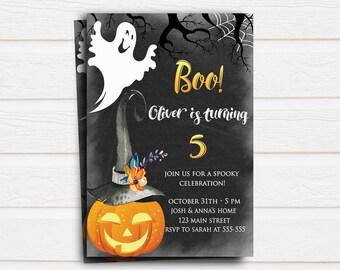Birthday Invitation Kids Etsy UK - Halloween birthday invitations uk