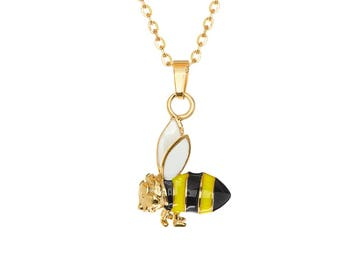 "Gold IP-Plated Enamel Inlay Bumble Bee Charm Pendant, 18"" Chain Necklace"