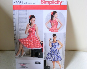 Vintage sewing pattern, Simplicity K8051  flair dress pattern, Dress sewing pattern, Party dress, Classic design