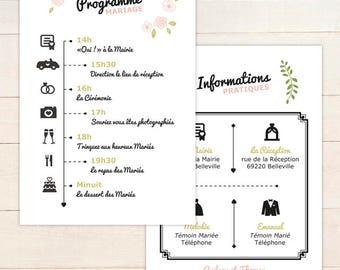 Programme MARIAGE personnalisable // Programme recto/verso pour informer vos invités du déroulement à télécharger en pdf ou à imprimer