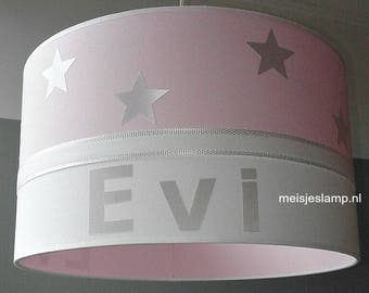 Baby lamp pink white stars with name