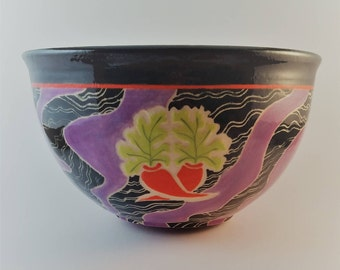 Large decorative bowl, ceramic, gift, hand carved, sgraffito,