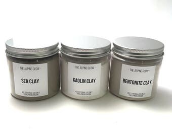 Clay Trio - Sea Clay - Kaolin Clay - Bentonite Clay - Clay Mask - Face Mask - Mud Mask - Vegan Gift - Montmorillonite Clay