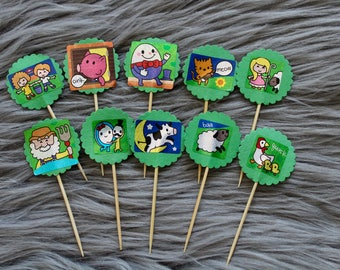 Nursery Rhyme Cupcake Toppers with Hey Diddle Diddle, Little Bo-Peep and more. Perfect for Party Decorations, Baby Shower or Kids Party