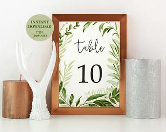 Printable Table Numbers 1-30, Instant Download, Wedding, Shower, DIY PDF, 5x7, Greenery, Garden Foliage, Woodland (Emily)