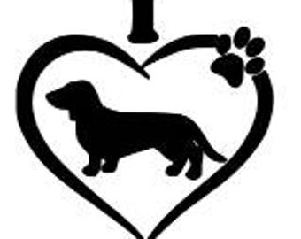 I Love My dachshund Decal