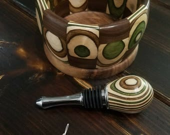 Spectraply and Black Walnut Wine Coaster and Bottle Stopper Set