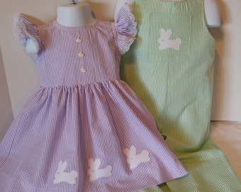 Matching Sibling Easter Outfits - Dress and Jon-Jon Romper  (FREE SHIPPING)