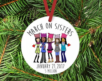 March on Washington Gift Ornament, Womens March, Sisterhood Ornament, DC March, Womens rights, January 21, gift for her, Pink hat, Pussy hat