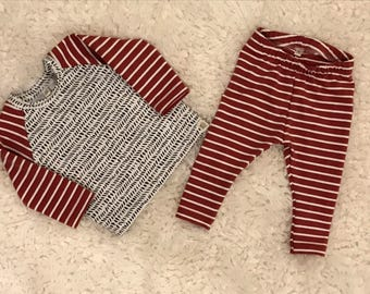 Baby boy long sleeve raglan shirt and pants/children clothing/baby boy clothes/baby gift