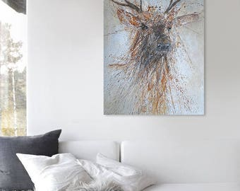 "ELK' 37"" x 25"" Original Acrylic Painting On Canvas"