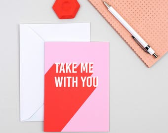 Funny leaving card - Leaving work card - Leaving work funny cards - Funny new job card - Take me with you - New job card - Promotion card