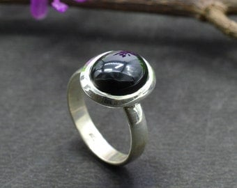 Natural Black Onyx Oval Gemstone Ring 925 Sterling Silver R733