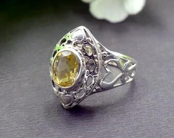 Natural Citrine Oval Gemstone Ring 925 Sterling Silver R691