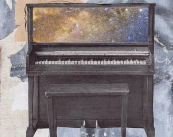 "Print Art | ""Tempo I: Thingness (Finding the Moon)"" Art print of Original  Mixed Media Painting 8"" x 10"""