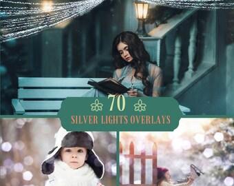 70 Silver lights Overlay, Winter Bokeh, Bokeh Overlays, Photoshop Overlay, Christmas Bokeh, Lights Overlays, Digital backdrop, Snow Overlays
