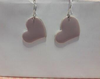 Lilac heart earrings