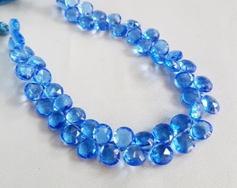 Hydro Quartz faceted Heart shape beads , 7x7.5 mm to 7.5x8.5 mm size Heart , 8 inch strand approx