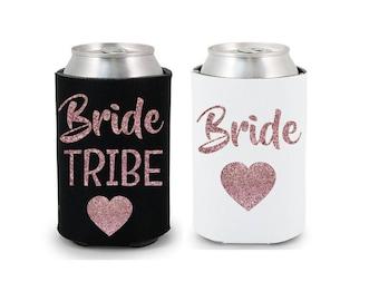 Bride Tribe Drink Coolers Bachelorette Party Favors, Rose Gold Glitter Drink Cooler Favors, Bachelorette Survival Kit, Bottle Can Holders