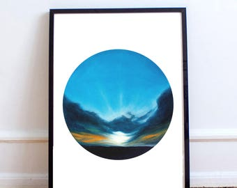 Bright Sunset Painting Print | Fasting Day | Geometric Landscape