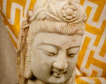 Vintage Chinese Quan Yin Stone Buddha Head Statue – Quartz - Marble