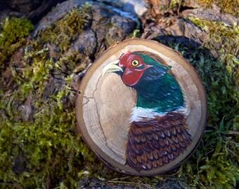 Pheasant original painting, wood slice painting, painting on wood, British wildlife art, British bird painting, bird artwork, natural wood