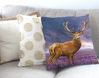 Stag Cushion, Stag Pillow, Stag Print, Stag Art, Stag Artwork, Stag Picture, Deer Cushion, Deer Pillow, Stag home decor, Stag Antlers, Deer